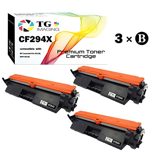 - TG Imaging Compatible 94X CF294X Toner Cartridge (Black, 3-Pack), for HP Laserjet Pro M118 MFP M148 Printer
