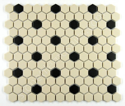 (Vogue Rosette Pattern Unglazed Porcelain Mosaic Tile White with Black Dots Designed in Italy (Box of 5 sq. ft.))