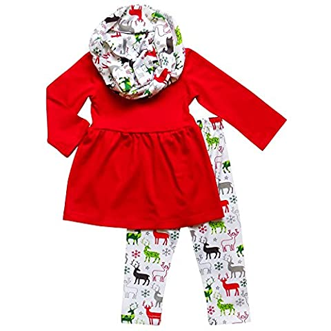 So Sydney Toddler Girls 3 Pc Fair Isle Christmas Reindeer Print Holiday Outfit (XXL (7), Red & Green Deer)