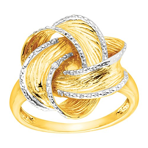 Bold Knot Ring with Diamonds in 14K Gold-Plated Sterling Silver Size 7 (Diamond Knot Ring)
