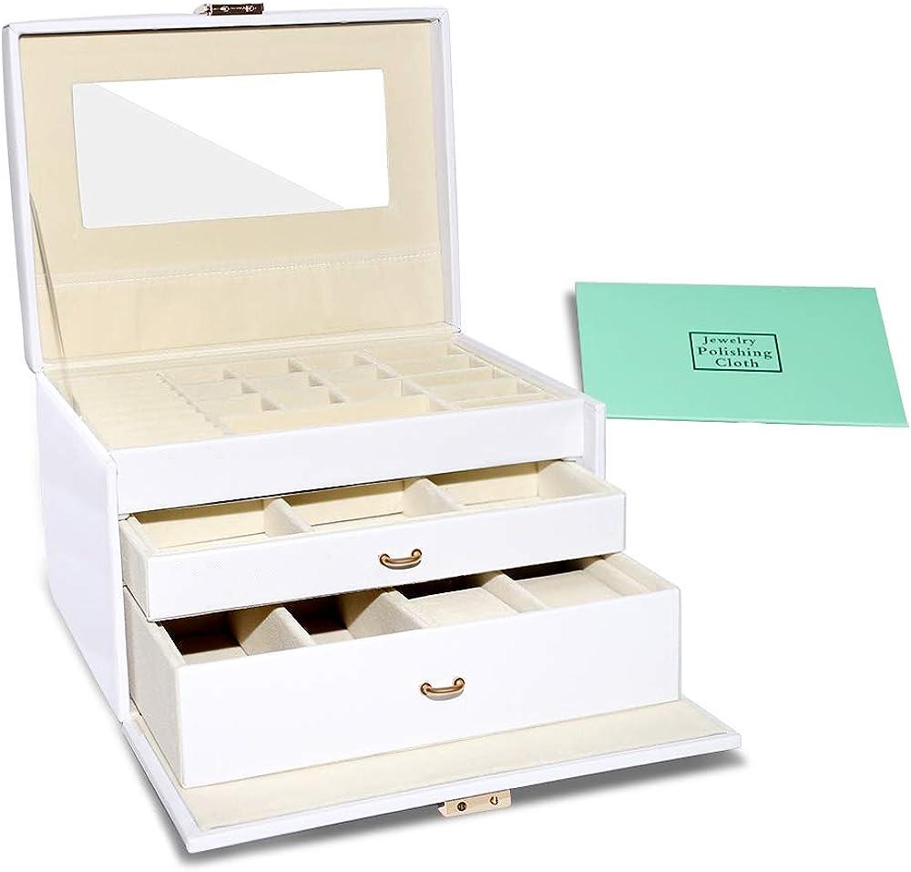 E-MANIS Caja Joyero para Mujer,Alta Capacidad Caja para Joyas con 3 Capas 2 Cajones Organizador Joyero con Cerradura y Espejo para Relojes,Pendientes,Gafas,Pulseras,Anillos,Regalo para Navidad,Bianco