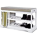 Cheap Giantex Shoe Bench Rack with Upholstered Padded Seat Storage Shelf Origanizer Bench with 2 Baskets for Bedroom Entryway Living Room (White)