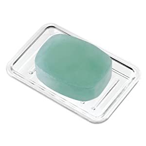 "iDesign Royal Plastic Rectangular Soap Saver, Bar Holder Tray for Bathroom Counter, Shower, Kitchen, 3.5"" x 5.25"", Clear"