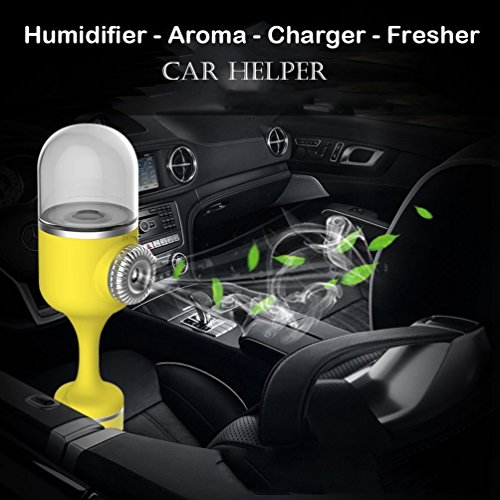 Car Diffuser Humidifier, [Update Version] Car Essential Oil Diffuser, Aroma Air Refresher Ultrasonic Aromatherapy Diffusers Portable Mini Car Aroma diffusers with Dual USB Car Charger