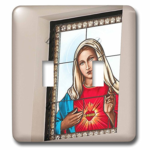 3dRose lsp_52159_2 A A Stained Glass Window At The Catholic Church With Mary In It Done In A Poster Finish Close Up Toggle switch
