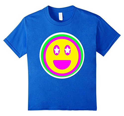 [Kids Big Neon Emoji Theme Party Shirt for Birthdays, Raves, 80's 4 Royal Blue] (Social Media Sites Costumes)