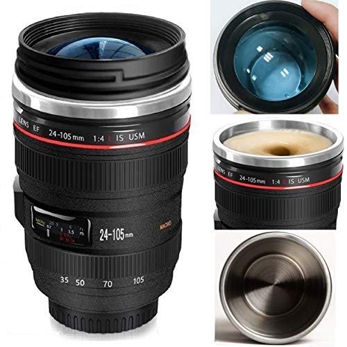 Minisoo Camera Lens Coffee Mug,12oz,the Latest Style Stainless Steel Travel Mugs 100% Leak Proof~Insulated Cup Works Great for Ice Drink,Hot Beverage~Novelty Gifts Thermos Cup for Outdoor activities