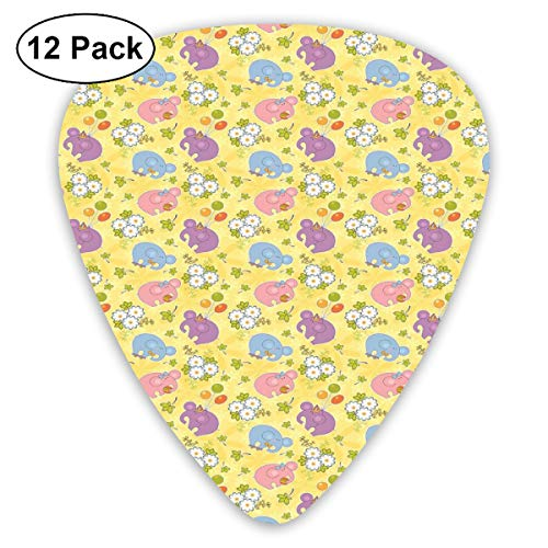 Guitar Picks 12-Pack,Blossoming Cartoon Flowers And Animal Mascots Balloons Bow Ties Playful Clip Art