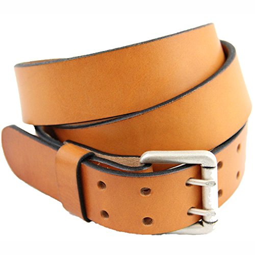 American Made 1 1/2 London Tan Bridle Leather Belt Double Hole Size - Tan Leather Bridle