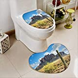 aolankaili 2 Piece Bathroom Mat Set Famous Canyon Cliff with Dramatic Cloudy Sky Southwest Terrain Place Absorbent Cover
