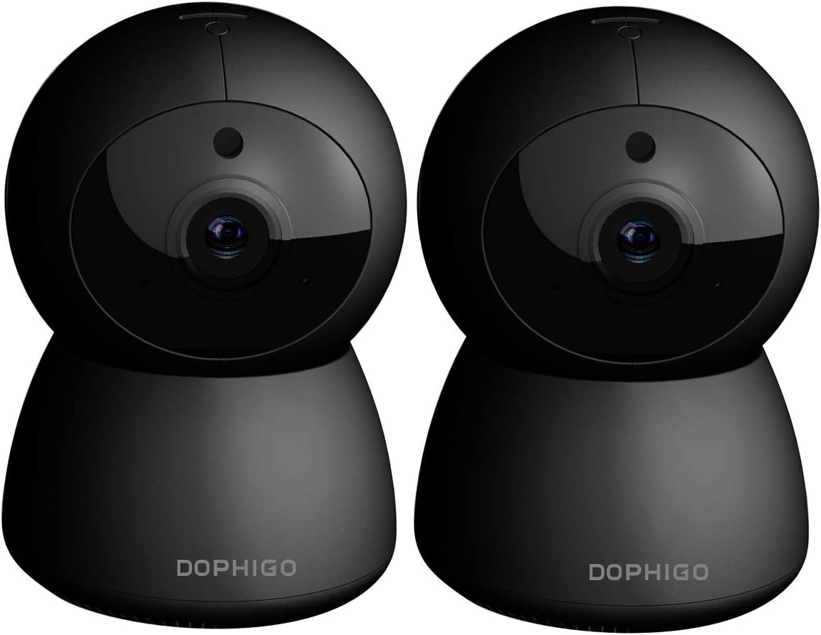 DophiGo Set of 2 1080P HD Dome 360 Wireless WiFi Baby Monitor Safety Home Security Surveillance IP Cloud Cam Night Vision Camera