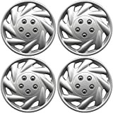 2009 toyota corolla s hubcaps - OxGord Hub-Caps for Select Saturn S Series (Pack of 4) 15 Inch Silver Wheel Covers