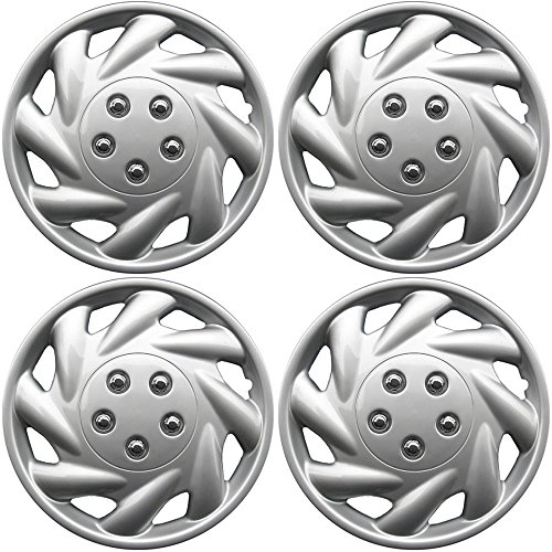 [Hub-Caps for Select Saturn S Series (Pack of 4) 15 Inch Silver Wheel Covers] (1991 Saturn S Series)