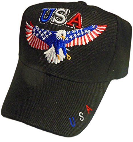 - Patriotic Bald Eagle With American Flag Stars and Stripe Wings Baseball Cap/Hat (One Size) (Black)