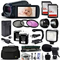 Canon VIXIA HF R700 HFR700 HD Camcorder Video Camera + 128GB Memory + Travel Charger + 3 Filters + 2 Batteries + Opteka X-Grip + LED Light + Microphone + Monopod + Large Case + Dust Cleaning Kit