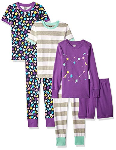 Spotted Zebra Big Kids' 6-Piece Snug-Fit Cotton Pajama Set, Moon and Stars, XX-Large (14) ()