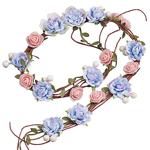 Girl Wreath - Jewelryou Adjustable Flower Crown Festivals Headbands Bridal Garland Girls Hair Wreath Halo for Party Photo Props(Blue4, Freesize)