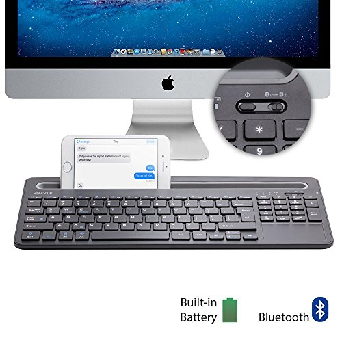 GMYLE [Simple Toggle Device Switch] Multi-Device Bluetooth Keyboard with Docking and Touch Pad for Computers, Tablets and Smartphones - Black