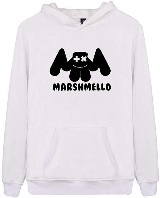Silver Basic Felpa con Cappuccio Marshmello DJ 3D Stampa Felpa per Donna