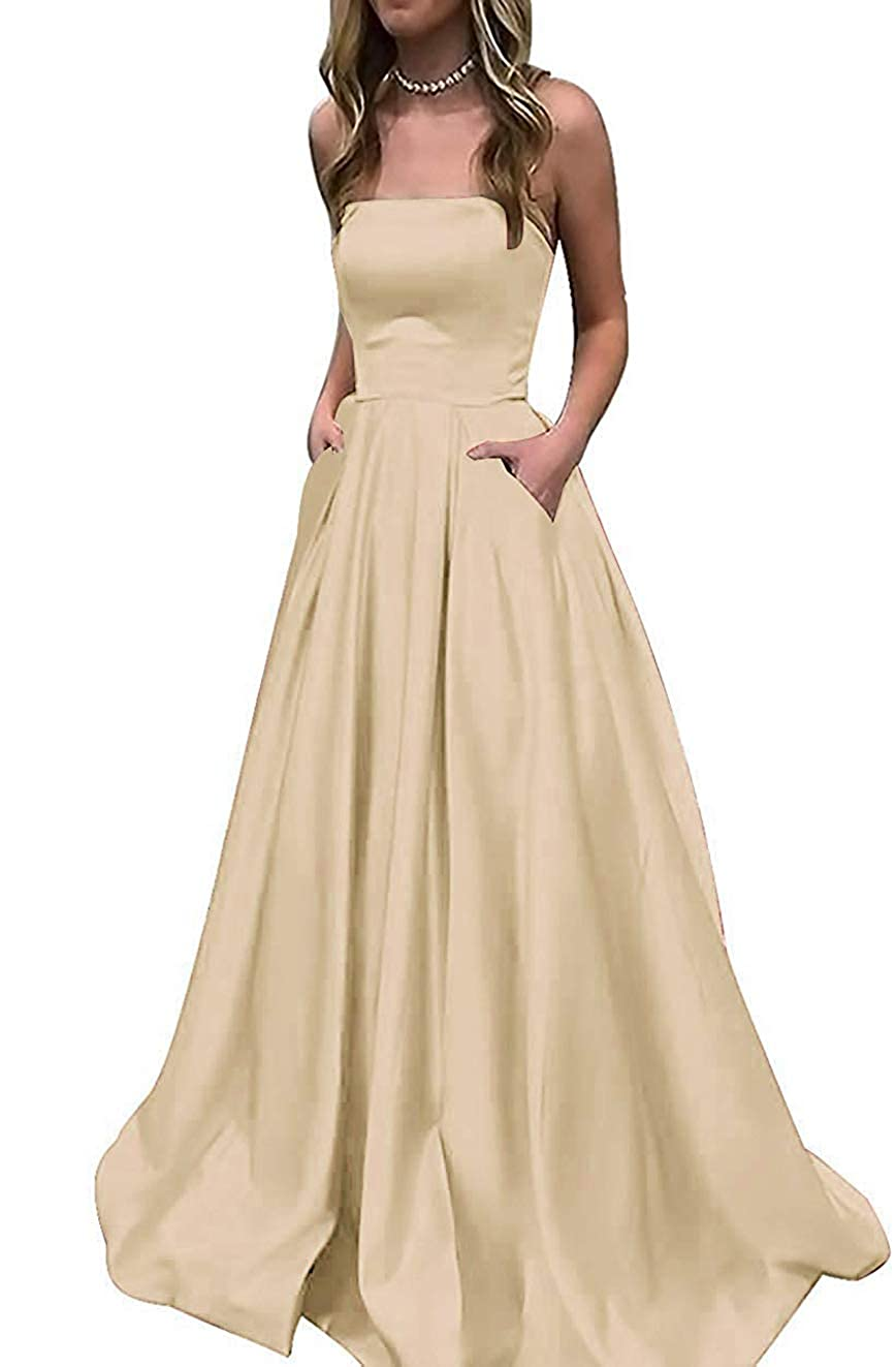 Champagne PrettyTatum Women's Strapless Satin Prom Dresses Long Formal Evening Ball Gowns with Pockets