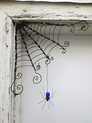 Czechoslovakian Blue Spider Dangles From 12 Barbed Wire Corner Spider Web, Made To Order