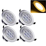 Deckey Warm White 7W Ceiling Light Downlight Spotlight Recessed Lighting Fixture Adjustable Gimbal Down Light Led Recessed LED Downlight (Pack of 4)