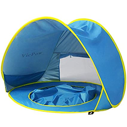 best authentic c3336 62338 Pop Up Baby Beach Tent,VicPow Portable Infant Sun Shelter Play Beach Tent  with Kiddie Pool,UV Protection