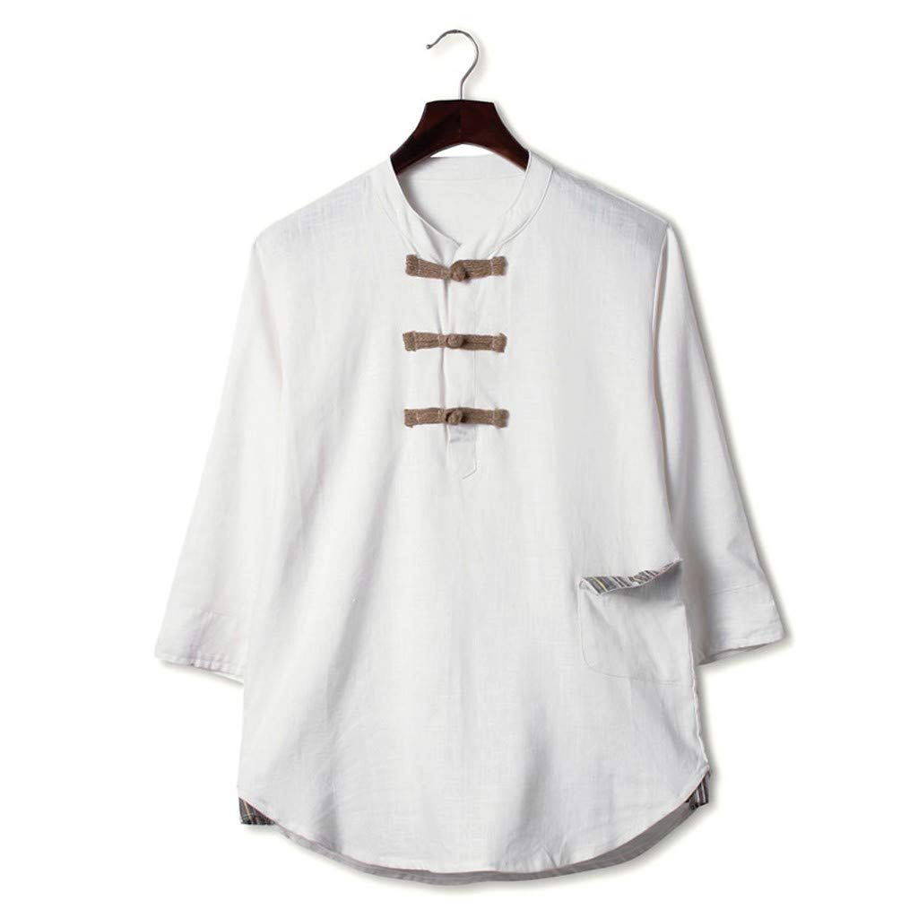 Vintage Style Beautyfine Cotton Linen Half Sleeve Shirt Mens Summer Casual T Shirt Top Blouse