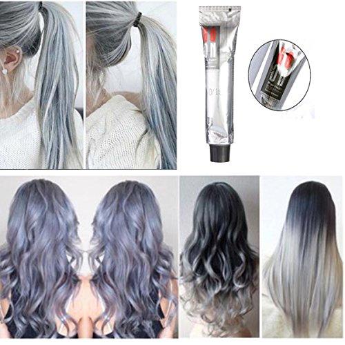 Permanent Hair Cream Dye (Hair Dyes, LuckyFine - Hair Cream Hair Toning Poly Tint Wash Hair Dyeing Silver Gray Hair Wax 100ml)