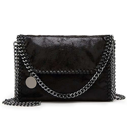 Metallic Cross PU KAMIERFA Clutch Bags Leather for Evening Designer Chain Body Handbags Black Women Bag Strap with d55wxqPr
