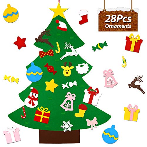 Decorate Door For Christmas (UMIKU Felt Christmas Tree for Kids Toddlers 28pcs Ornaments DIY Christmas Tree Kids Xmas Gifts Hanging Home Door Wall Christmas Decorations 40)