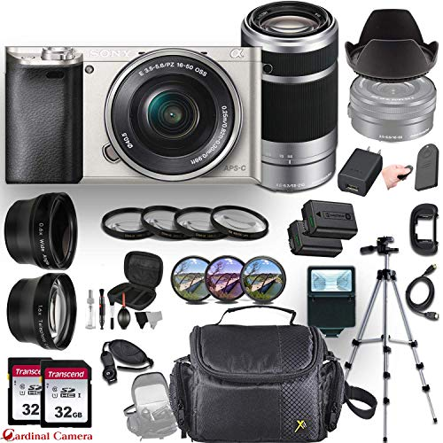 Sony Alpha a6000 (Silver) Mirrorless E-Mount Camera with 2 Sony Lenses (E 16-50mm f/3.5-5.6 OSS and E 55-210mm f/4.5-6.3 OSS) + Professional Accessory-Kit Bundle