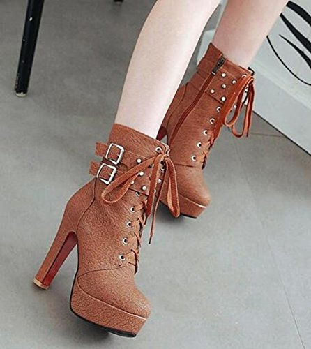 IDIFU Womens Stylish Platform High Block Heels Lace Up Side Zipper Short Ankle Boots With Studs Brown ktR1W