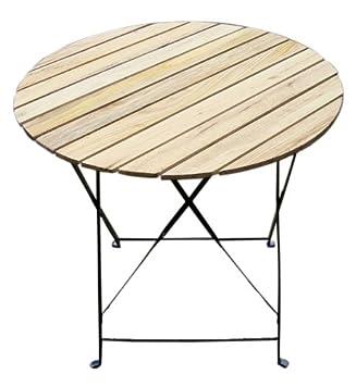 Table de jardin bistrot pliante, ronde, Ø=75cm, métal+bois, beige ...