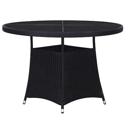 Festnight Table d\'extérieur, Table de Jardin Noire en ...