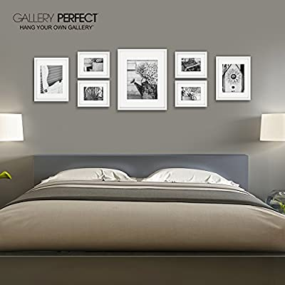 . Gallery Perfect 7 Piece White Photo Frame Gallery Wall Kit with Decorative  Art Prints   Hanging Template