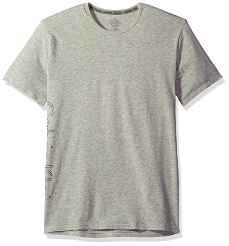 Calvin Klein Men's Logo Lounge Short Sleeve Crew Neck Tee, Grey Heather, (Calvin Klein Loungewear)