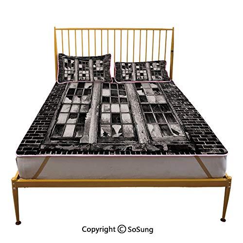 (Industrial Creative King Size Summer Cool Mat,Broken Window Missing Glass Pane Derelict Blight Factory Brick Wall Decorative Sleeping & Play Cool Mat,Charcoal Grey Pale Grey)