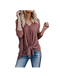 Arfurt Womens Waffle Knit Tunic Blouse Tie Knot Henley Tops Bat Wing Plain Shirts