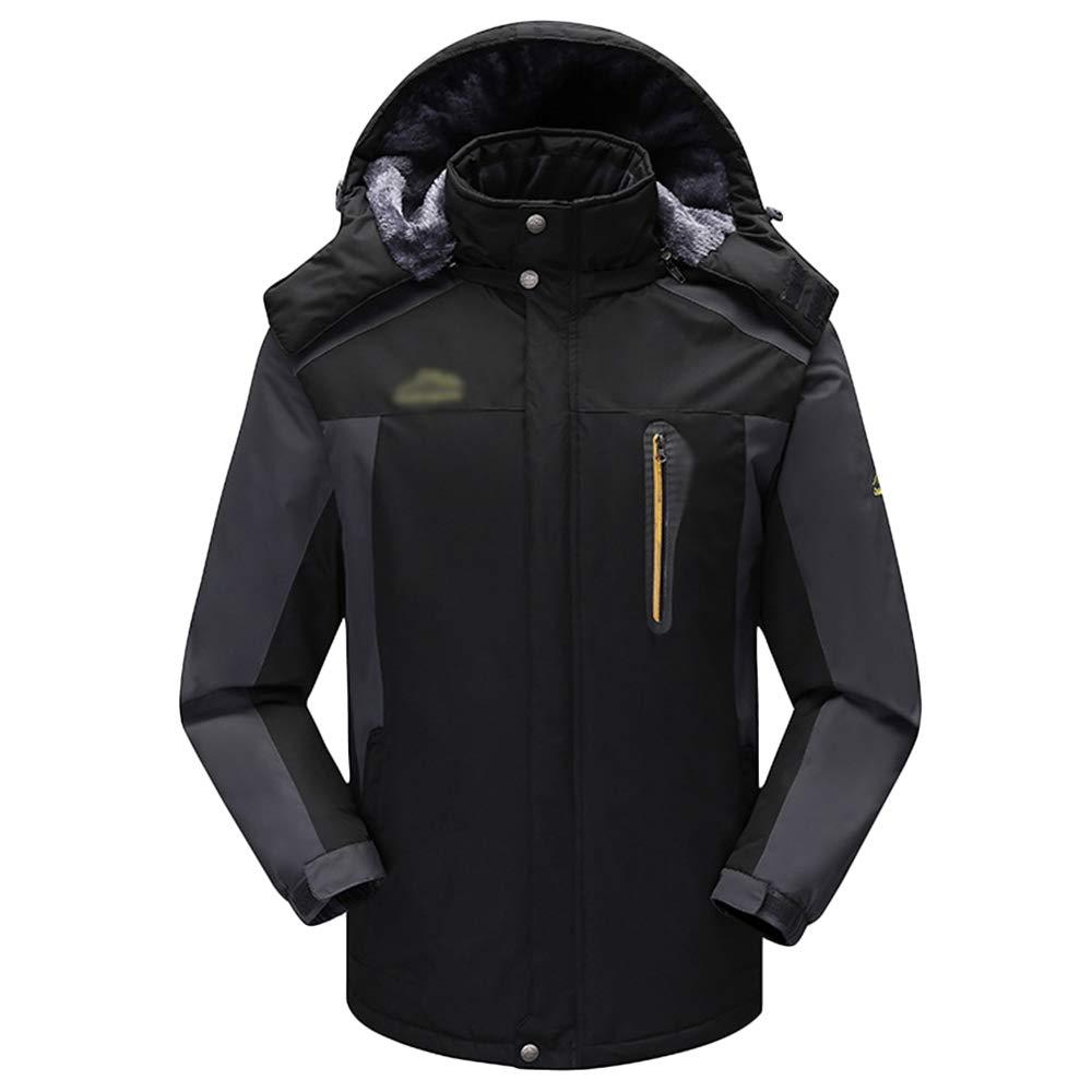 NDHSH Herren wasserdichte Jacken Fleece Wandern Winddichte Jacken Mantel Outdoor Sportbekleidung Camping Warm Klettern Ski Jacken Schnee Regenbekleidung,Black-4XL