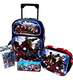 Avengers Marvel Age of Ultron Large 16'' Rolling Roller Wheeled Backpack Book Bag, Lunch Box, Pencil Case & Stationery Set