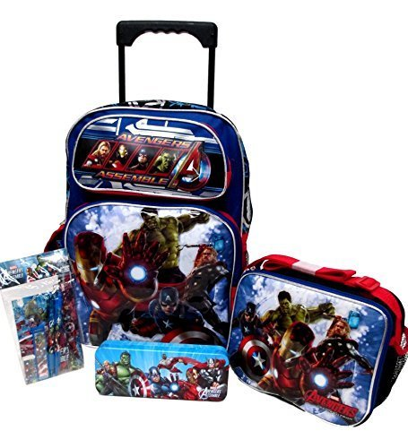 Avengers Marvel Age of Ultron Large 16'' Rolling Roller Wheeled Backpack Book Bag, Lunch Box, Pencil Case & Stationery Set by Bag2School