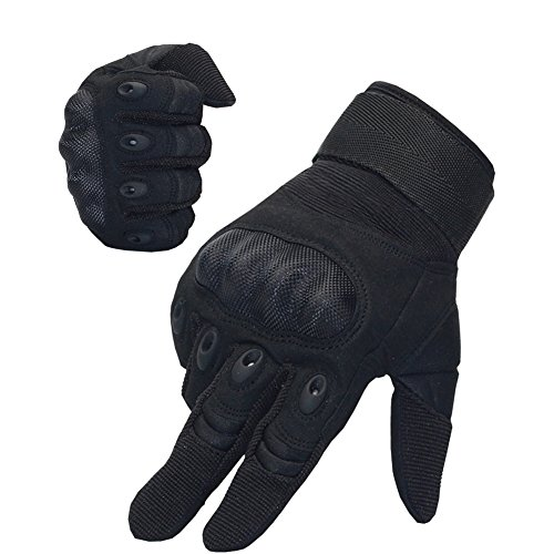 Padded Knuckle (Nachvorn Men's Tactical Military Rubber Hard Knuckle Outdoor Gloves for Camping Cycling Motorcycle Hiking Powersports Airsoft Paintballg,Full Finger,Black-L)