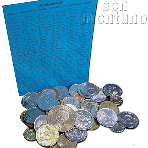 55 ANIMAL COINS FROM OVER 30 DIFFERENT COUNTRIES - World Collection of 55 Different Animal Coins with Identifier List - GREAT STARTER SET