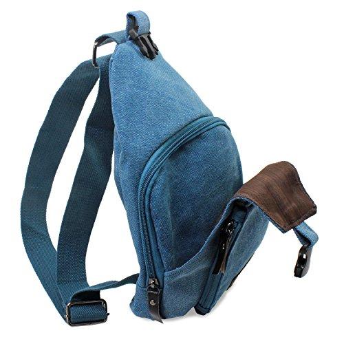 hombres bolsa bolsa viaje de hombro Sling Senderismo Ocio la PsmGoods® lona Blue Denim de pecho bolsillo Mochila B1nwUxEqSq