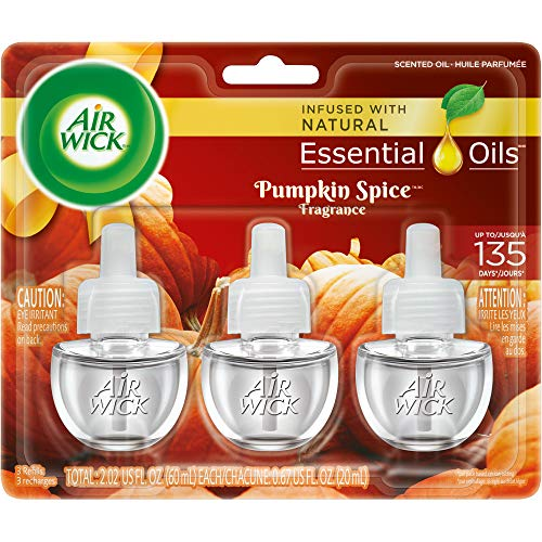 Air Wick Scented Oil 3 Refills, Pumpkin Spice, Air Freshener, 0.67 Ounce, 3 Count