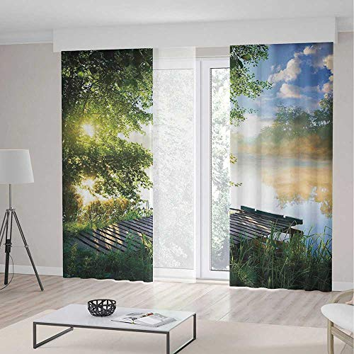 - Window Blackout Curtains,Art for Bedroom Living Dining Room Kids Youth Room,Fishing Pier by River in the Morning Light with Clouds and Trees Nature Image Decor Decorative,2 Panel Set 79W X 83L Inches
