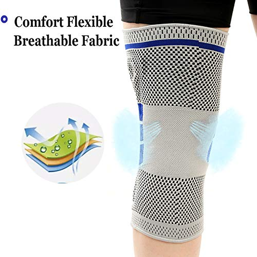 Professional Knee Brace Compression Sleeve - Best Knee Braces for Men Women, Medical Grade Knee Support Protector for Running, Meniscus Tear, Arthritis, Joint Pain Relief, Sports Injury Recovery