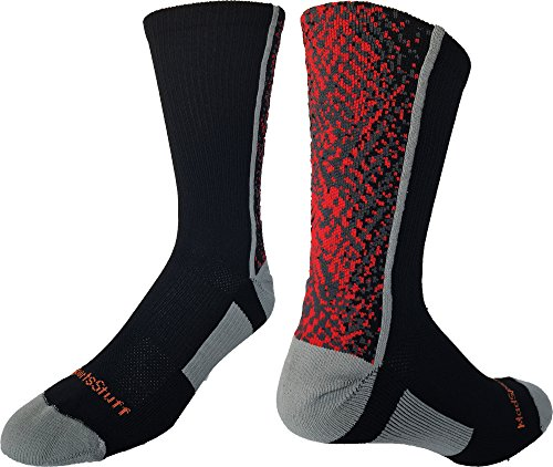 MadSportsStuff Highlight Athletic Crew Socks (Black/Red/Graphite, Medium) by MadSportsStuff