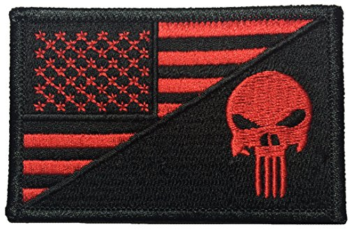 American USA Flag / Skull Sew on Iron on Embroidered Applique Patch - Black Red (IRON-USAF-HALF-PUNI-BKRD)